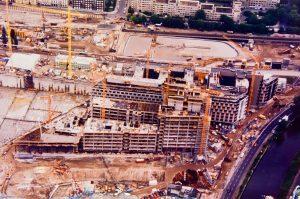 Bau des Debis Center 1994